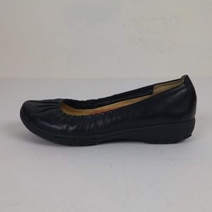 Clarks Unstructured Black Leather Loafer Flats 7M